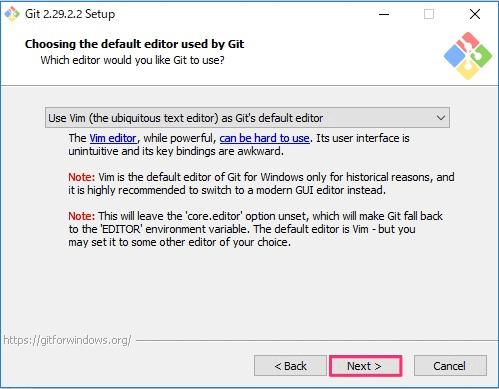 Git for Windowsインストール画面5