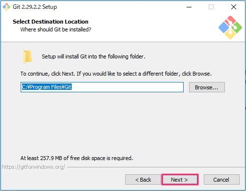 Git for Windowsインストール画面2