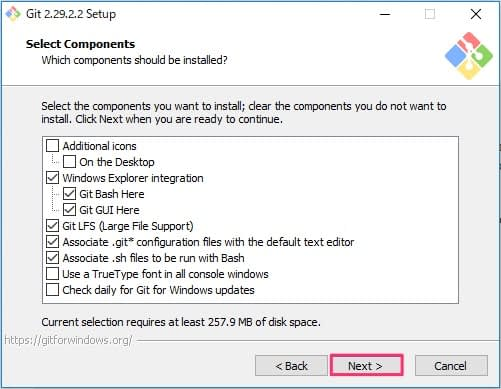 Git for Windowsインストール画面3