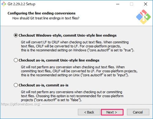 Git for Windowsインストール画面9
