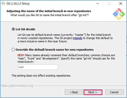 Git for Windowsインストール画面6