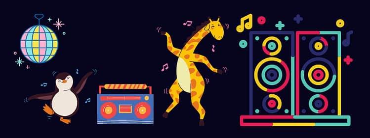 音楽にあわせて踊る動物たち
